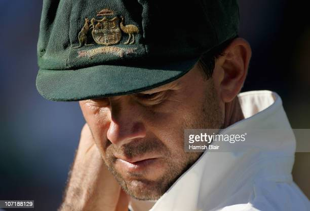 Australian captain Ricky Ponting looks on aftrer day five of the First Ashes Test match between Australia and England at The Gabba on November 29...