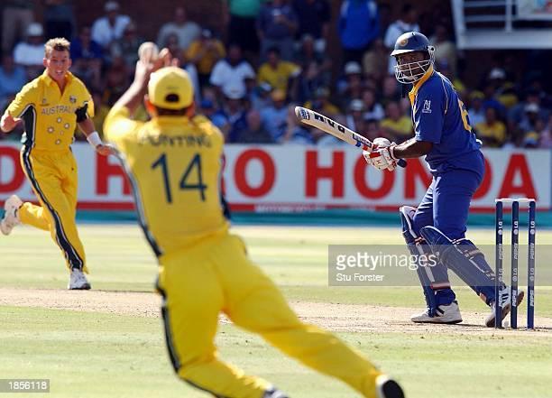 Australian captain Ricky Ponting takes off to catch Sri Lankan batsman Avishka Gunawardene off the bowling of Brett Lee during the World Cup Semi...