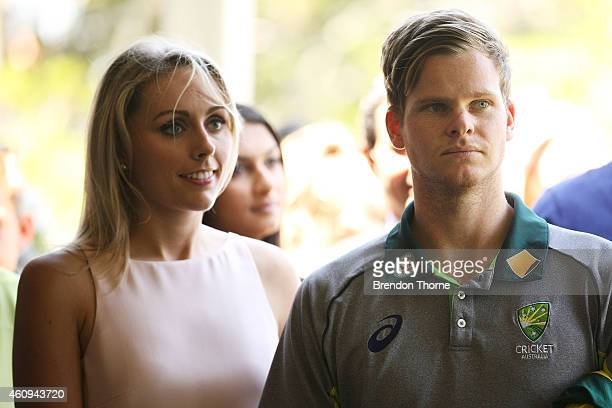 Australian captain Steve Smith and his partner Danielle Willis look on during the Australian and Indian cricket team visit at Kirribilli House on...