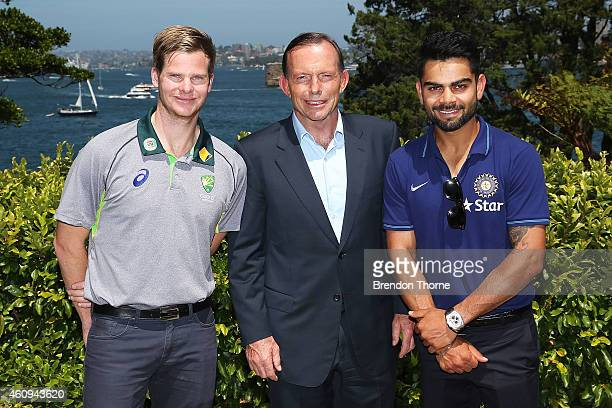 Australian captain Steve Smith Australian Prime Minister Tony Abbott and Indian captain Virat Kohli pose during the Australian and Indian cricket...