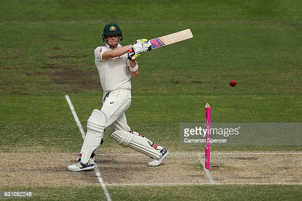 Australian captain Steve Smith bats during day four of the Third Test match between Australia and Pakistan at Sydney Cricket Ground on January 6 2017...
