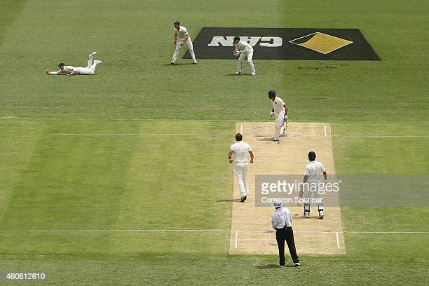 Australian captain Steve Smith catches out Rohit Sharma of India off the delivery of Shane Watson of Australia during day two of the 2nd Test match...