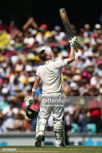 Australian captain Steve Smith celebrates scoring a century during day two of the Fourth Test match between Australia and India at Sydney Cricket...