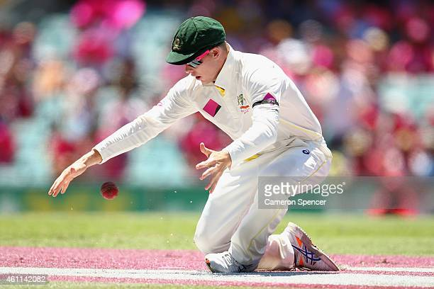 Australian captain Steve Smith drops a catch of Lokesh Rahul of India off the delivery of team mate Shane Watson during day three of the Fourth Test...