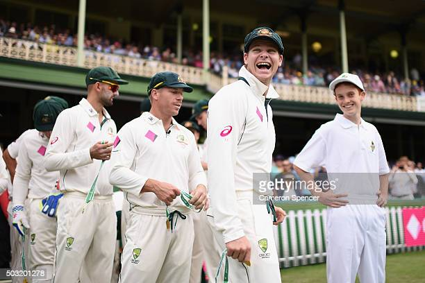Australian captain Steve Smith laughs prior to day one of the third Test match between Australia and the West Indies at Sydney Cricket Ground on...