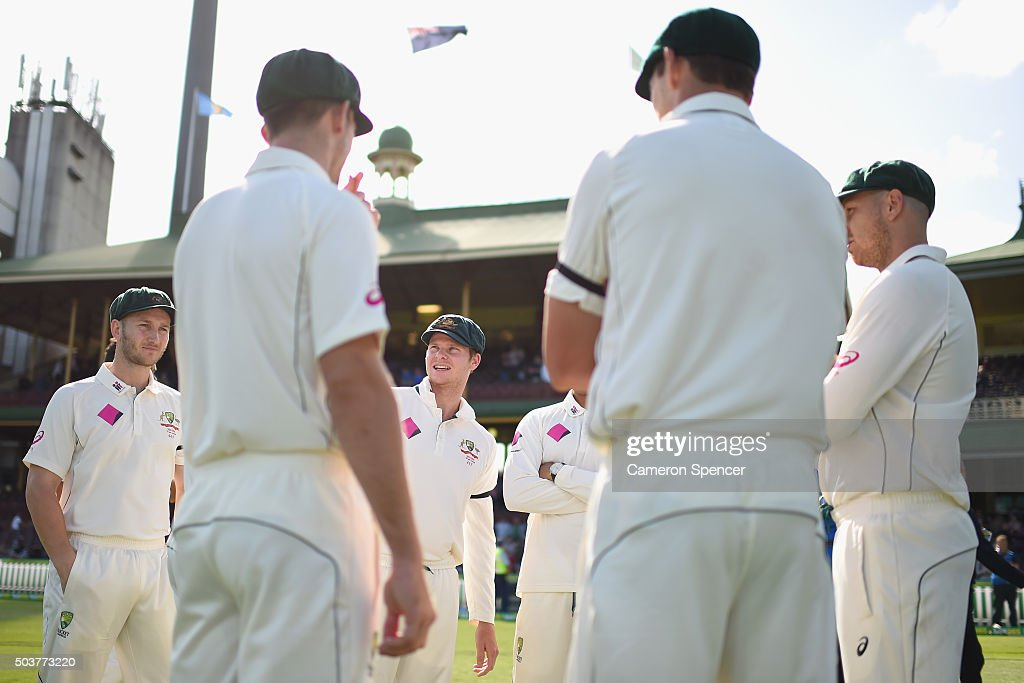 Australian captain Steve Smith talks to his players after winning the series during day five of the third Test match between Australia and the West Indies at Sydney Cricket Ground on January 7, 2016 in Sydney, Australia.