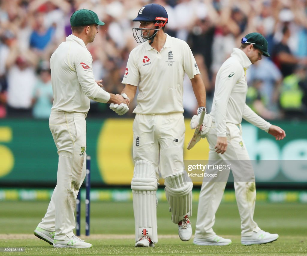 Australian captain Steve Smith walks off as Alastair Cook of England shakes hands with Shaun Marsh of Australia at the close of play after making 244 not out during day three of the Fourth Test Match in the 2017/18 Ashes series between Australia and England at Melbourne Cricket Ground on December 28, 2017 in Melbourne, Australia.