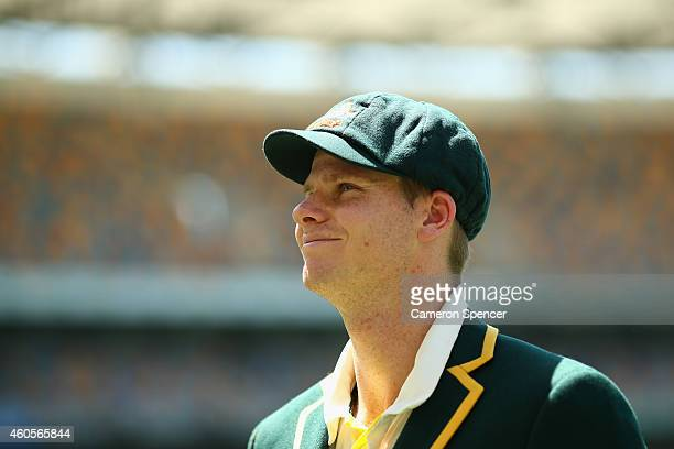 Australian captain Steve Smith walks off the field after the coin toss during day one of the 2nd Test match between Australia and India at The Gabba...