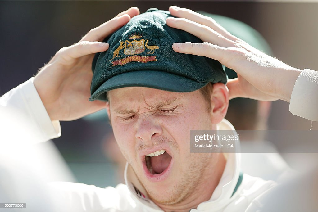 Australian captain Steve Smith yawns at the end of day five of the third Test match between Australia and the West Indies at Sydney Cricket Ground on January 7, 2016 in Sydney, Australia.