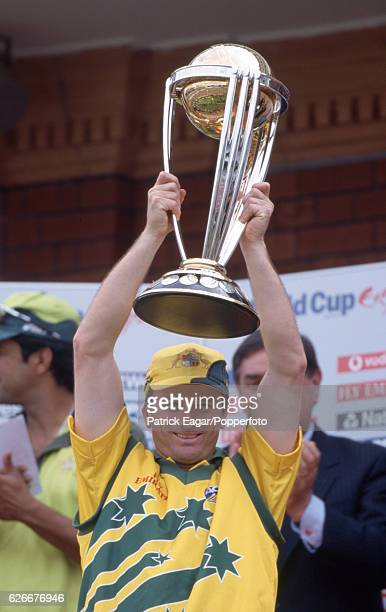Australian captain Steve Waugh lifts the trophy after Australia win the ICC World Cup Final between Australia and Pakistan at Lord's cricket ground...