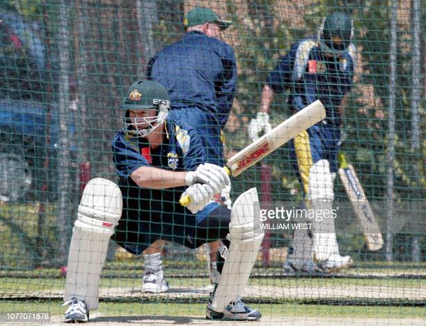 Australian captain Steve Waugh swats at a ball during their final net session at the Gabba in Brisbane, 06 November 2002. Australia are strong...
