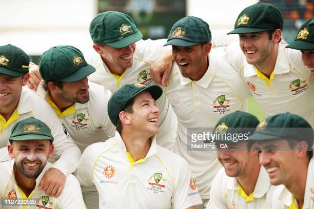 Australian captain Tim Paine and team mates celebrate victory during day four of the Second Test match between Australia and Sri Lanka at Manuka Oval...