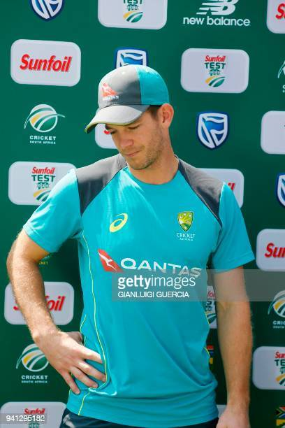 Australian captain Tim Paine is interviewed after Australia lost the fourth Test between South Africa and Australia giving South Africa a 31 victory...