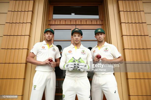 Australian Captain Tim Paine poses with Australian Vice Captains Josh Hazlewood and Mitch Marsh during an Australian Test Team Leadership Portrait...