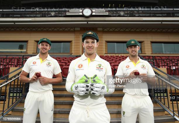Australian Captain Tim Paine poses with Australian Vice Captains Josh Hazlewood and Mitch Marsh during an Australian Test Team Leadership Portrait...