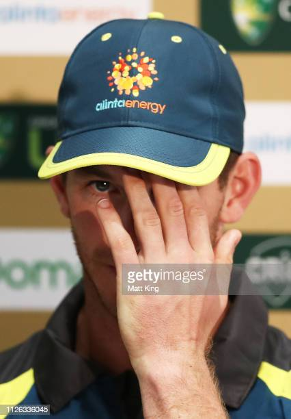 Australian captain Tim Paine speaks to the media during an Australian Nets session at Manuka Oval on January 31 2019 in Canberra Australia
