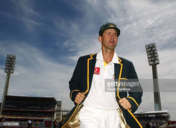 Australian captin Ricky Ponting runs from thr ground prior to day one of the Third Ashes Test match between Australia and England at WACA on December...