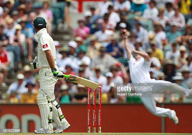 Australian captin Ricky Ponting watches as he is caught by Paul Collingwood of England during day one of the Third Ashes Test match between Australia...