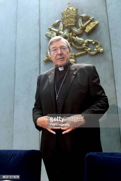Australian Cardinal George Pell arrives at the Holy See Press Room for a press conference on June 29 2017 in Vatican City Vatican Former archbishop...