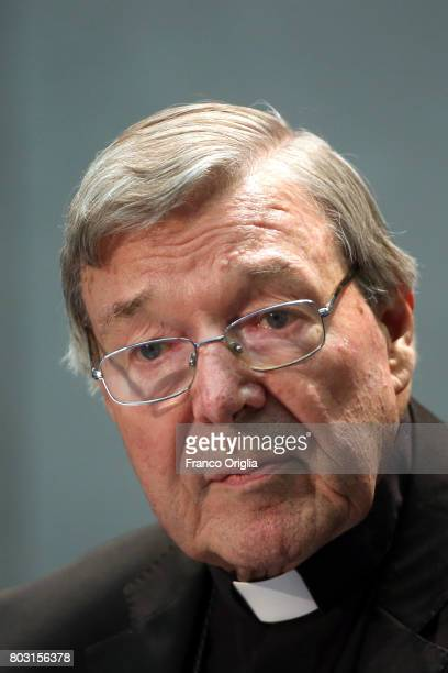 Australian Cardinal George Pell attends a press conference at the Holy See Press Room on June 29 2017 in Vatican City Vatican Former archbishop of...