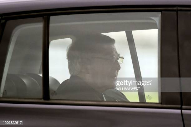 Australian Cardinal George Pell leaves after being released from Barwon Prison near Anakie some 70 kilometres west of Melbourne on April 7 2020...
