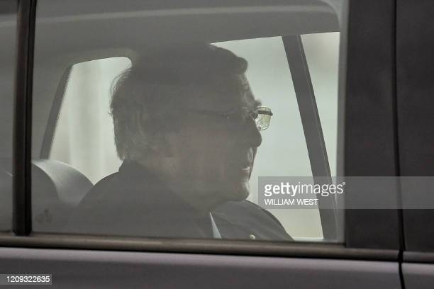 TOPSHOT Australian Cardinal George Pell leaves after being released from Barwon Prison near Anakie some 70 kilometres west of Melbourne on April 7...
