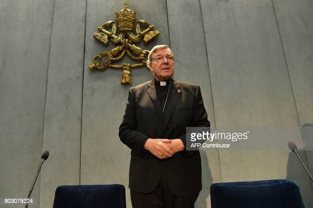 Australian Cardinal George Pell makes a statement at the Holy See Press Office Vatican city on June 29 2017 after being charged with historical sex...