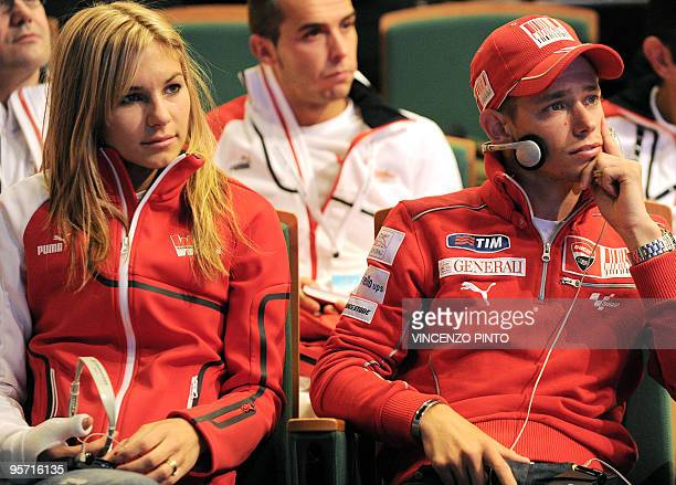 Australian Casey Stoner attends on January 12 2010 a news conference with his wife Adriana as part of the Vroom 2010 F1 and MotoGP Press Ski Meeting...