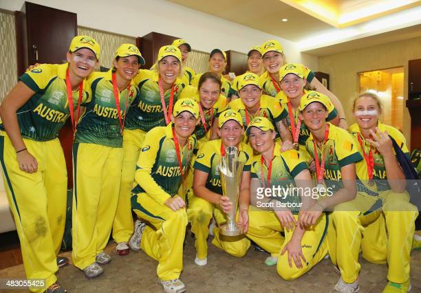 Australian celebrate with the trophy in the changing rooms after winning the Final of the ICC Women's World Twenty20 Bangladesh 2014 between...