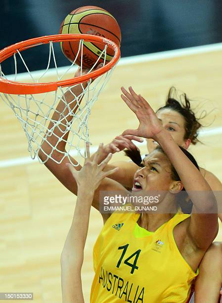 Australian center Elizabeth Cambage jumps for the ball during the London 2012 Olympic Games women's bronze medal basketball game between Australia...