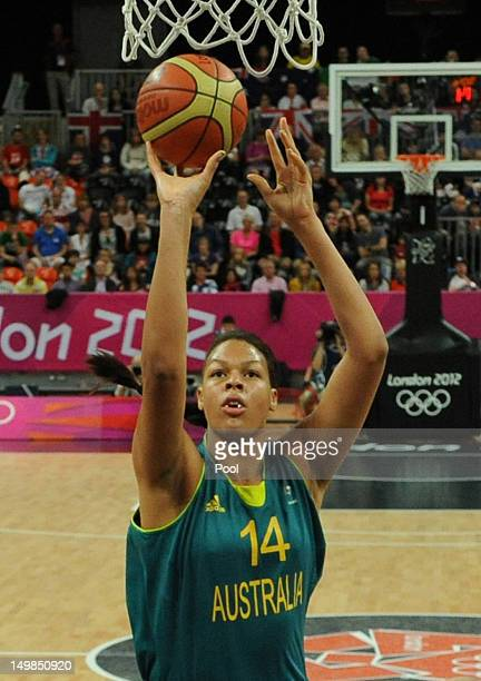 Australian center Elizabeth Cambage jumps to shoot during the women's preliminary round group B basketball match between Canada and Australia on Day...