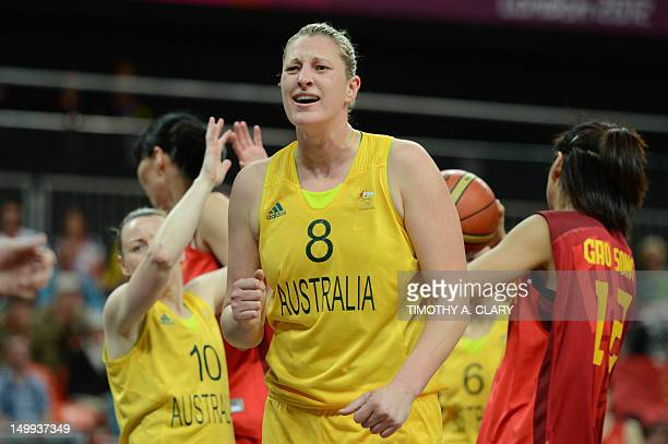 Australian center Suzy Batkovic reacts after scoring during the women's quarter final basketball match Australia vs China at the London 2012 Olympic...