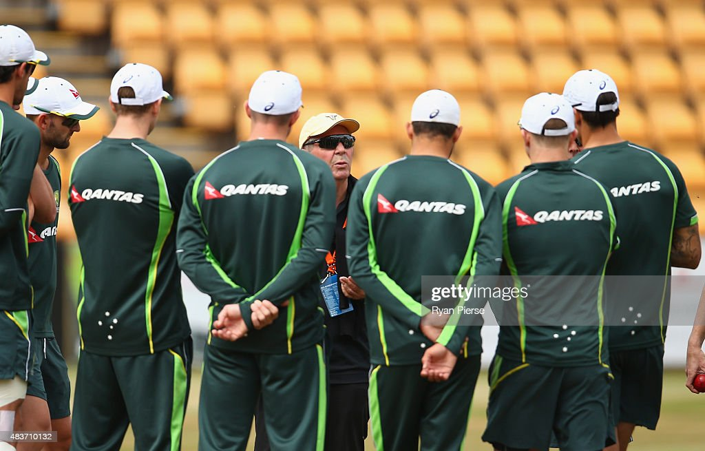 Australian Chairman of Selectors Rod Marsh addresses the players during an Australian Nets Session at The County Ground on August 12, 2015 in Northampton, England.