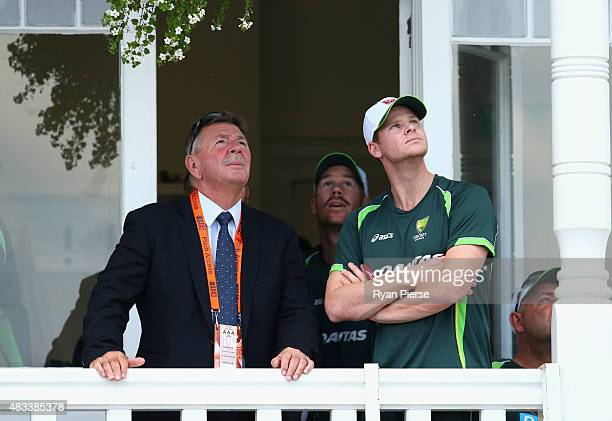 Australian Chairman of Selectors Rod Marsh David Warner and Steve Smith of Australia look on after day three of the 4th Investec Ashes Test match...
