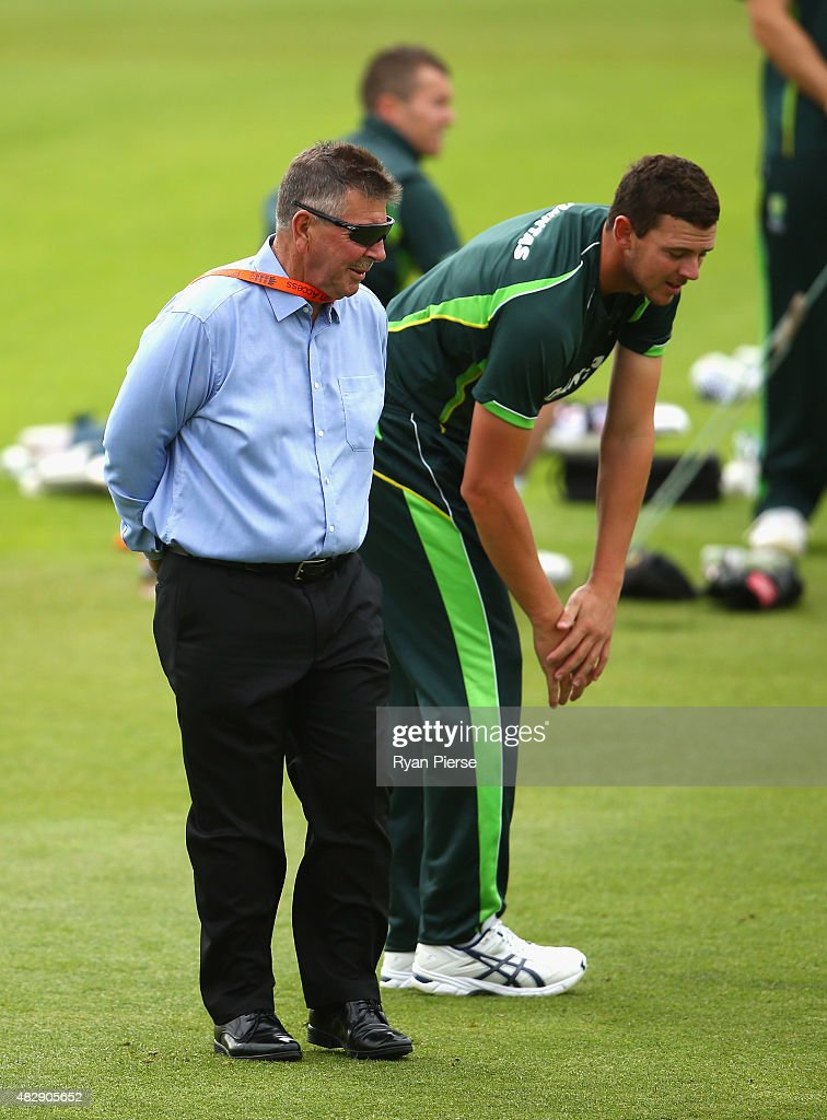 Australian Chairman of Selectors Rod Marsh speaks to Josh Hazlewood of Australia during a nets session ahead of the 4th Investec Ashes Test match between England and Australia at Trent Bridge on August 4, 2015 in Nottingham, United Kingdom.