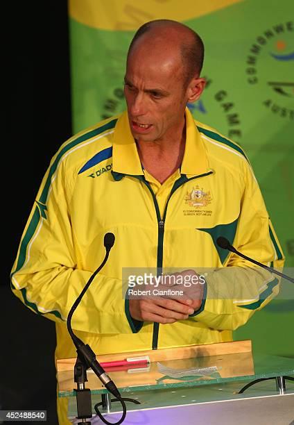 Australian Chef de Mission Steve Moneghetti speaks during the Australian Commonwealth Games official team reception at the Kelvin Grove Art Gallery...