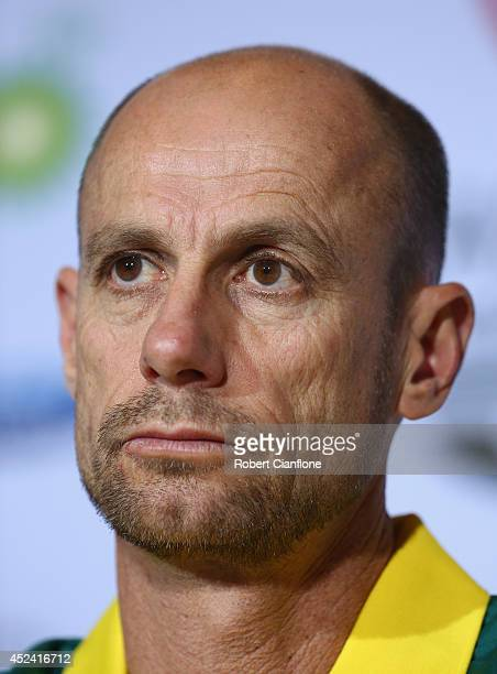 Australian Chef de Mission Steve Moneghetti speaks to the media during an Australian press conference at the Main Press Centre on July 20 2014 in...