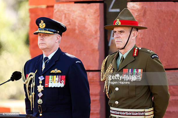 Australian Chief of Defence Force Air Chief Marshal Mark Binskin and New Zealand Chief of Defence Force Lieutenant General Tim Keating look on during...