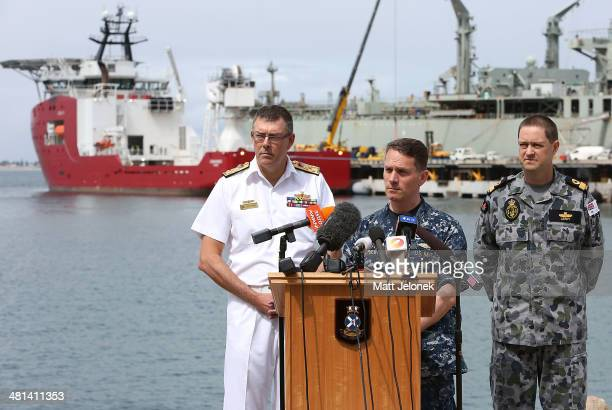 Australian Chief of Navy Vice Admiral Ray Griggs Commodore Peter Leavy Australian Commander of the Joint Task Force and US Navy Capt Mark Matthews...