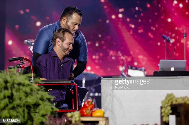 Australian Christian evangelist and motivational speaker Nick Vujicic who was born without limbs performs opair in Kyiv Ukraine in front of dozens...