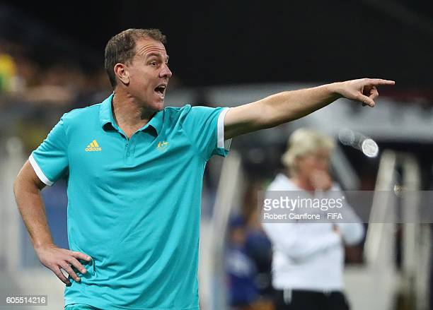 Australian coach Alen Stajcic gestures during the Women's First Round Group F match between Germany and Australia on Day 1 of the Rio 2016 Olympic...