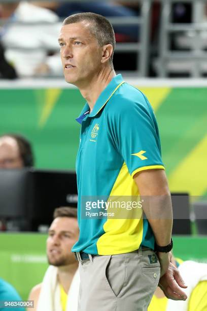 Australian coach Andrej Lemanis looks on during the Men's Gold Medal Basketball Game between Australia and Canada on day 11 of the Gold Coast 2018...