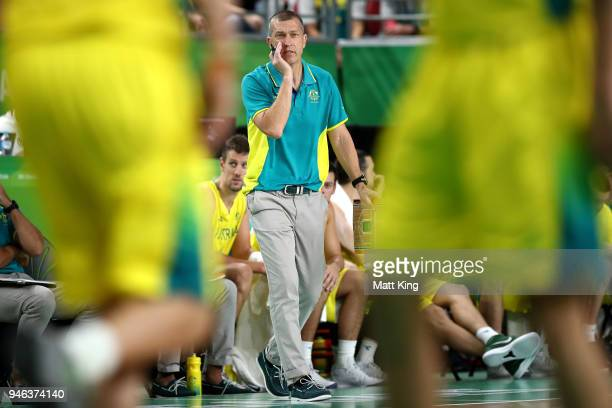Australian coach Andrej Lemanis shouts instructions during the Men's Gold Medal Basketball Game between Australia and Canada on day 11 of the Gold...