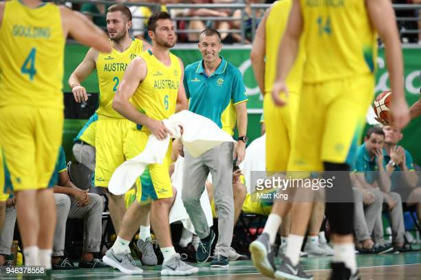 Australian coach Andrej Lemanis smiles during the Men's Gold Medal Basketball Game between Australia and Canada on day 11 of the Gold Coast 2018...