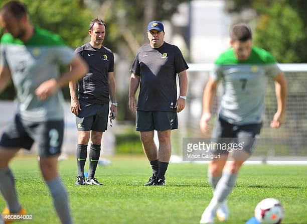 Australian Coach Ange Postecoglou and assistant Aurelio Vidmar during an Australian Socceroos Asian Cup training session at the Collingwood Training...