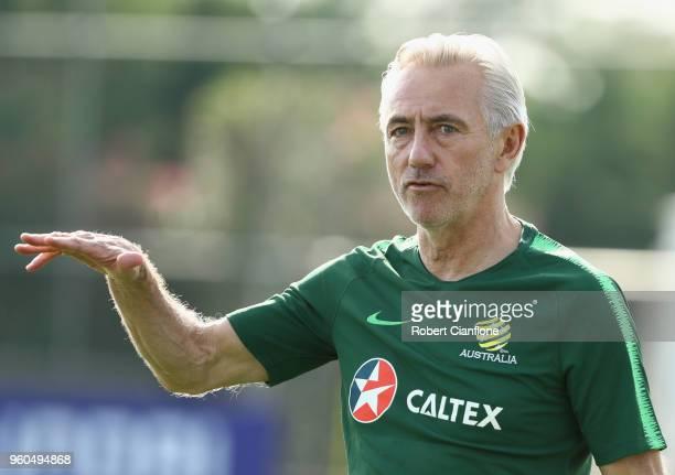 Australian coach Bert van Marwijk gestures during the Australian Socceroos Training Session at the Gloria Football Club on May 20 2018 in Antalya...