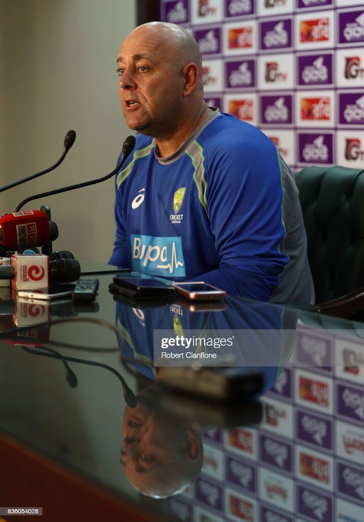 Australian coach Darren Lehman speaks to the media after an Australian Test team nets session at Sher-E Bangla National Cricket Stadium on August 21, 2017 in Dhaka, Bangladesh.
