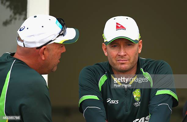 Australian coach Darren Lehmann and Michael Clarke of Australia talk after day three of the 4th Investec Ashes Test match between England and...