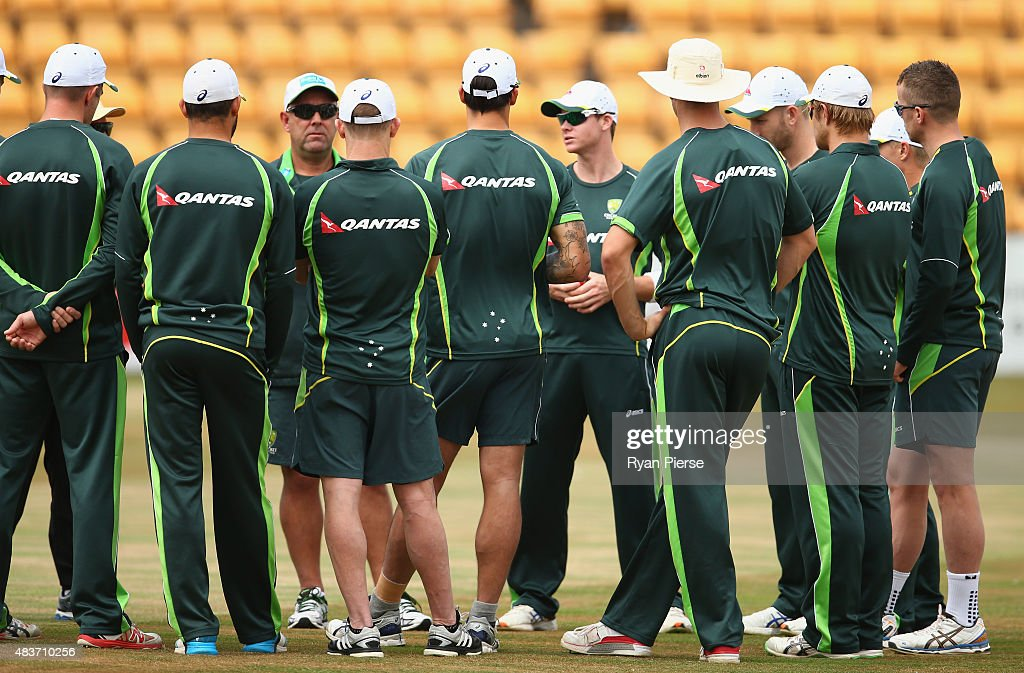 Australian coach Darren Lehmann and Steve Smith of Australia address the players during an Australian Nets Session at The County Ground on August 12, 2015 in Northampton, England.