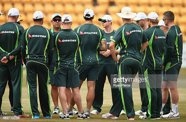 Australian coach Darren Lehmann and Steve Smith of Australia address the players during an Australian Nets Session at The County Ground on August 12...